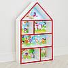 Будиночок стелаж, полиця для іграшок і книг PLK-L-6r Смішарики біло-червоний