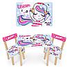 Детский стол с двумя стульчиками Bambi 501-92 Единорог