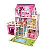 Домик для кукол MD 2672 Трехэтажный деревянный домик с мебелью и световыми эффектами