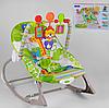Детский шезлонг-качалка каталка Fitch Baby 8616 / дуга с игрушками / музыка и вибрация / цвет салатовый
