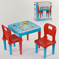 Детский пластиковый столик с двумя стульчиками Pilsan 03-414 / цвет голубой с красным