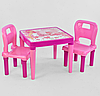 Детский пластиковый столик с двумя стульчиками Pilsan 03-414 / цвет розовый