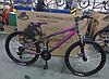 Подростковый горный спортивный одноподвесный велосипед AZIMUT Extreme 24 дюйма GFRD / SHIMANO / серо-розовый