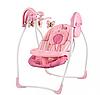 Детский шезлонг-качалка электрокачель Bambi SW 103-8 с москитной сеткой розовые