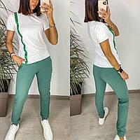 Стильный женский летний костюм футболка+штаны на  манжете