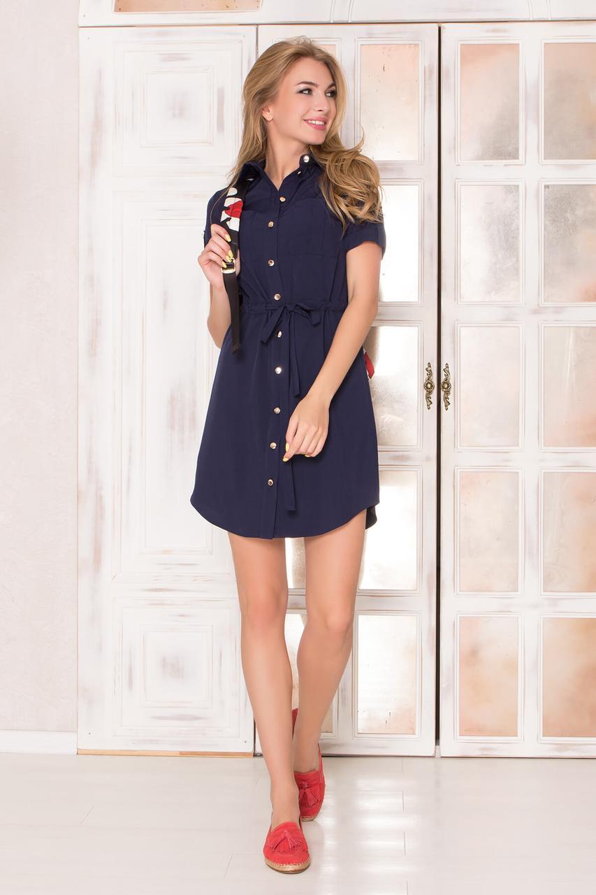 Летнее короткое платье-рубашка из софта с накладными карманами и коротким рукавом. Темно-синего цвета