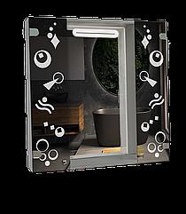 Шкаф-зеркало с LED подсветкой (80*80*14см) ШК815