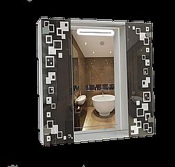 Шкаф-зеркало с LED подсветкой (80*80*14см) ШК816