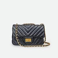 Маленька жіноча сумка натуральна шкіра чорна 1115-1