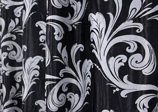 "Двусторонняя ткань блэкаут ""Лилия"". Высота 2,8м. Цвет чёрный с серебристым. Код 140ш"