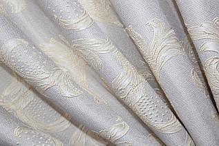 """Ткань лён рогожка, коллекция """"Корона Мария"""". Высота 2.8м. Цвет светло-серый Код 676ш"""