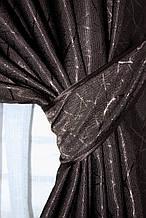 """Шторнаятканьлён блэкаут рогожка, коллекция """"Саванна"""", высота 2,8м. Цвет венге. Код 687ш"""