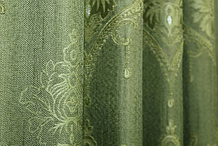 """Ткань лён рогожка, коллекция """"Корона Мария"""". Высота 2.8м. Цвет оливковый. Код 665ш"""