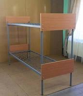 Кровать двухярусная металлическая с дер.быльцами 80*190 с лестницей (цена с НДС)