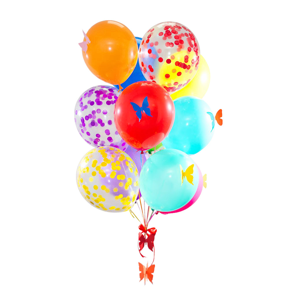 Связка радужная с 8 бабочками, 3 прозрачными шарами с разноцветным конфетти + Декор: гирлянда радужные