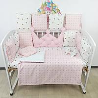 Комплект бортиков и постельного в кроватку с большой короной в розовых тонах., фото 1