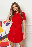Летнее короткое платье-рубашка из софта с накладными карманами и коротким рукавом. Красного цвета, фото 1