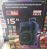 Колонка аккумуляторная Sky Sound-7272 15 дюймов с радиомикрофоном 200W (USB/FM/Bluetooth/TWS), фото 5