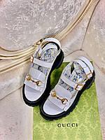 Крутые кожаные сандалии Гуччи (реплика), фото 1