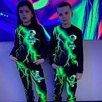 Детский светящийся 3D костюм унисекс Brawl Stars Leon зелёная молния (Бравл Старс Леон). Маска в подарок