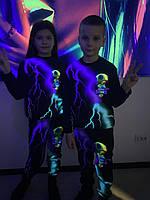 Детский светящийся 3D костюм унисекс Brawl Stars Leon фиолетово-зелёная молния (Бравл Старс Леон). Маска в