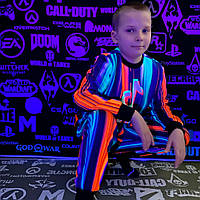 Детский светящийся 3D костюм унисекс Tik Tok полоска (Тик Ток). Маска в подарок
