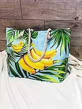 Пляжная сумка на молнии  с  принтом Бананы  , плетенными  ручками -  канатами и кошельком в подарок