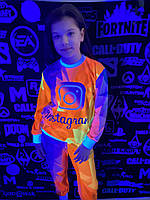 Детский светящийся 3D костюм унисекс Instagram (Инстаграм). Маска в подарок
