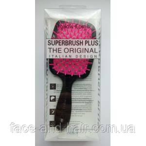 Расческа для волос Hollow Comb Superbrush Plus черная с малиновым 1шт