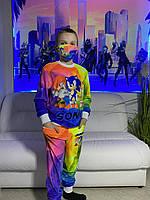 Детский светящийся 3D костюм унисекс Sonic светлый (Соник). Маска в подарок
