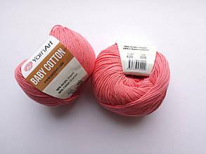 Пряжа Беби Коттон ЯрнАрт YarnArt Baby Cotton  цвет 420 коралл