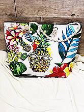 Пляжная сумка на молнии  с  принтом Ананас в очках  , плетенными  ручками -  канатами и кошельком в подарок