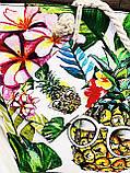 Пляжна сумка на блискавці з принтом Полуниця , плетеними ручками - канатами і гаманцем в подарунок, фото 4