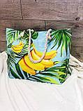 Пляжна сумка на блискавці з принтом Полуниця , плетеними ручками - канатами і гаманцем в подарунок, фото 6