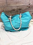 Пляжна сумка на блискавці з принтом Полуниця , плетеними ручками - канатами і гаманцем в подарунок, фото 8