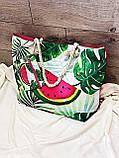 Пляжна сумка на блискавці з принтом Полуниця , плетеними ручками - канатами і гаманцем в подарунок, фото 9
