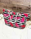 Пляжна сумка на блискавці з принтом Полуниця , плетеними ручками - канатами і гаманцем в подарунок, фото 10
