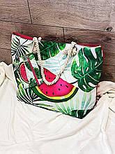 Пляжная сумка на молнии  с  принтом Арбуз  , плетенными  ручками -  канатами и кошельком в подарок