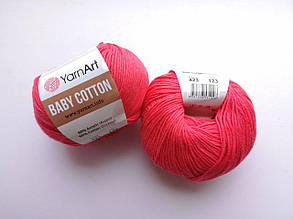 Пряжа Беби Коттон ЯрнАрт YarnArt Baby Cotton  цвет 423 малина