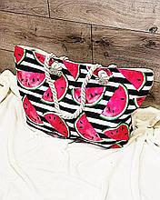 Пляжная сумка на молнии  с  принтом Арбузики полоска  , плетенными  ручками -  канатами и кошельком в подарок