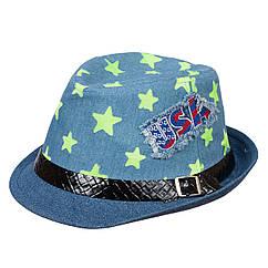 Шляпа детская НЧ001 джинс/салатовый р.52-53