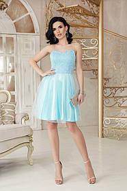Сукня-міні з гіпюром і сіткою і для випускного балу Розміри M, L, XL