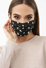 Черная маска в мелкий цветочек из батиста и софта с принтом для лица на резинке