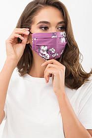 Красивая маска из батиста и софта с принтом для лица на резинке