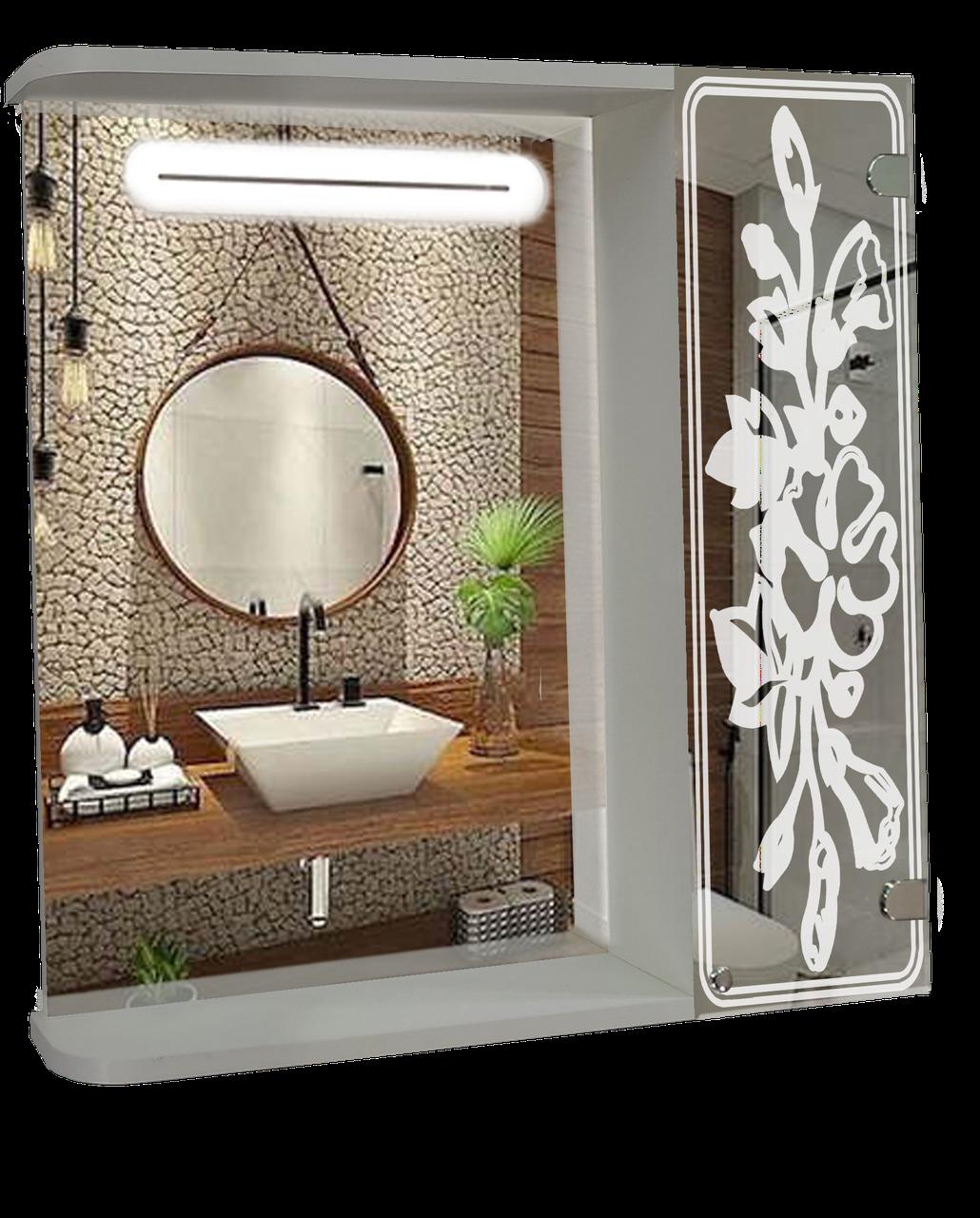 Шкаф-зеркало c LED подсветкой (60*70*14см) ШК857