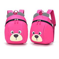 Рюкзак детский маленький мишка Baby Bag розовый с поводком ( IBD001P )