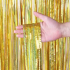 Шторка из фольги для фото зоны 1х2метра голограмма (золото)