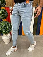 Мужские джинсы зауженные Скины голубые Турция