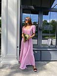 Макси платье в горошек с разрезом на ноге, с коротким присборенным рукавом (р. 42-46) 83032516, фото 2