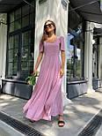 Макси платье в горошек с разрезом на ноге, с коротким присборенным рукавом (р. 42-46) 83032516, фото 3